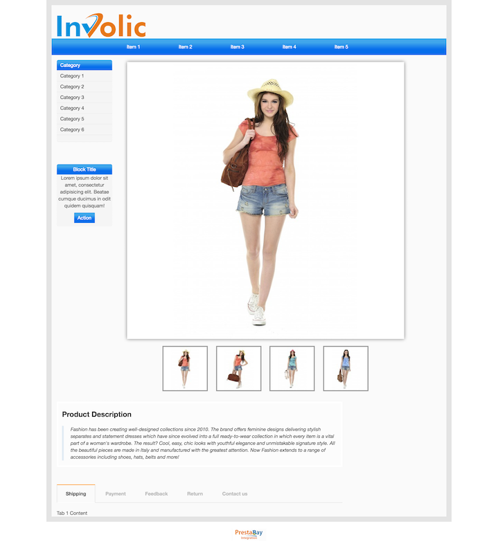 Ebay description template layout with sidebar desktop view